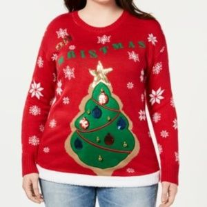 Planet Gold Christmas Tree Sweater size 3X